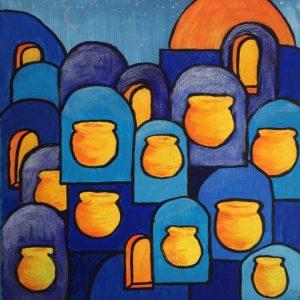 Jars of Treasure Blue Painting for Sale