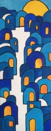 Chefchaouen blue town painting for sale. 20x50 £230