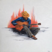 Spanish Flamenco Guitarist painting for Sale
