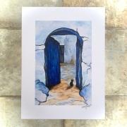 Cat in Blue doorway Chefchaouen