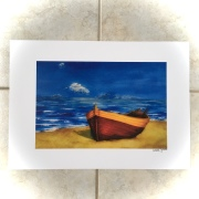Boat on Beach signed A3 print